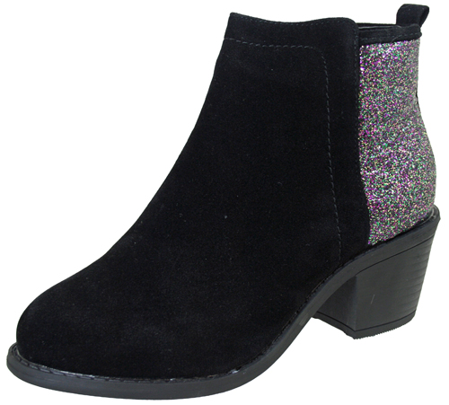 Little Diva Girls Faux Suede Glitter Zip Chelsea Ankle Heels Boots ...