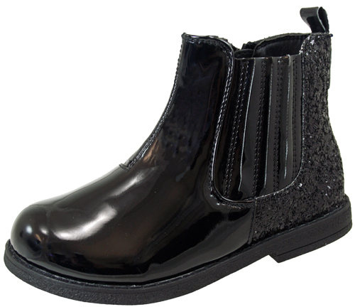 Girls Faux Patent Leather Chelsea Ankle Boots Glitter ...