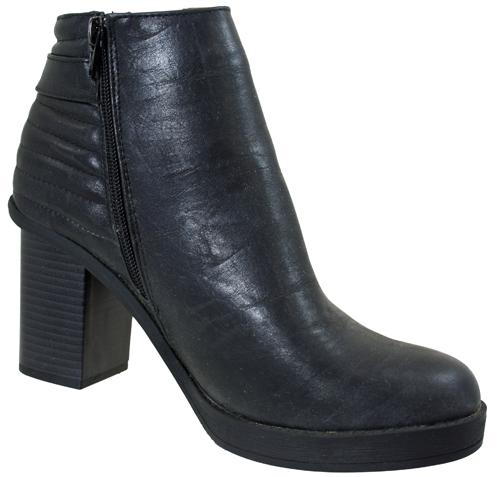 womens black platform chunky block heel zip ankle